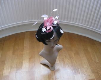 Pink Sinamay Headpiece
