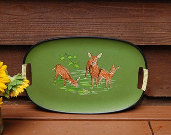Deer Serving Tray, Vintage Green Tray, Whitetail Deer Tray, Vintage Tray, Doe and Fawns