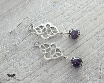 Dark Amethyst Earrings, Art Nouveau Earrings, Silver Celtic Earrings, Eggplant Purple Gemstone Earring, Celtic Jewellery, Handmade UK
