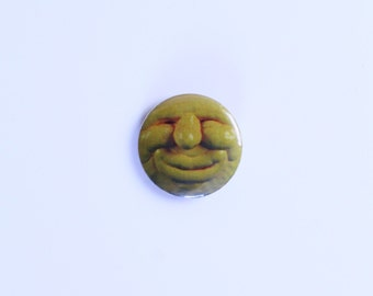 Yellow sun face pinback button badge pin