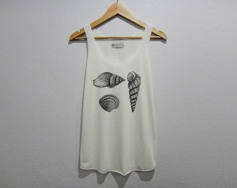 Old Vintage Shell Tank Top Women Size S M L