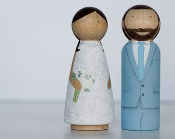 Hand painted Custom Wooden peg doll Wedding cake toppers