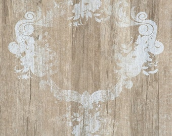 Serenity Faux Wood Damask Wallpaper