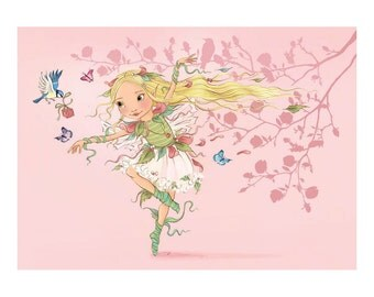 Fairy Girl Greeting Card 'Birdie Present'