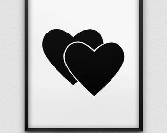 printable two hearts poster // instant download print // black and white hearts romantic home decor // brush effect two hearts print