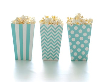 Aqua Blue Popcorn Boxes (36 Pack) - Mini Popcorn Tubs, Scalloped Edge Treat Cartons, Party Candy Boxes, Popcorn Wedding Favors