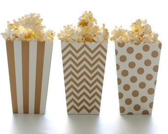 Gold Popcorn Boxes (36 Pack) - Movie Theatre Style Popcorn Carton, Wedding Party Favor Boxes, Treat and Candy Tubs