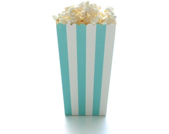Aqua Blue Stripe Popcorn Boxes (12 Pack) - Paper Wedding Boxes, Miniature Candy Cartons, Open Top Treat Tubs