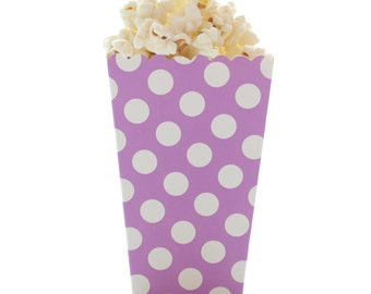 Popcorn Boxes, Purple Polka Dot (12 Pack) - Miniature Scalloped Edge Cardboard Party Candy Container / Treat Cartons