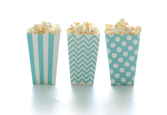 Blue Popcorn Favor Boxes : Aqua blue popcorn boxes pack mini tubs