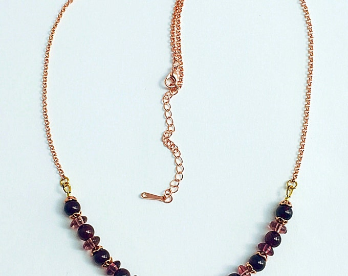 January Garnet Necklace, Real Garnet Gemstone 18k Rose Gold Necklace, Mulberry January birthstone redgarnet necklace, Garnet Necklace