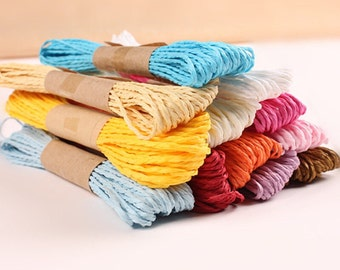 Set of 12 solid colors Kraft Paper Twine 10 Yards Each, Paper String Gift Wrapping, Favors Boxes, Card Making Scrapbooking etc