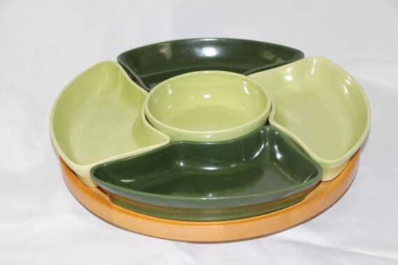 Mid Century Wooden Lazy Susan with Ceramic Divided Trays
