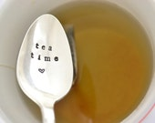 Tea Time, hand stamped teaspoon. Vintage silver plated by SamirahCollections - tea lover gift
