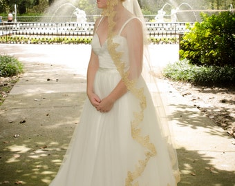 Gold Lace Wedding Veil, Gold Lace Ivory Mantilla Veil, Waltz Veil, Unique Veil,  Gold Lace Waltz Ivory Veil- THERESA