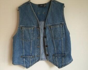 90's Jean Vest. 1990's Denim Vest. Liz Wear. Small. Medium. Workers Vest.