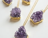 February Birthstone Amethyst Necklace Druzy Necklace Druzy Jewelry Gift For Her Valentine's Day Gift Girlfriend Gift Crystal Necklace