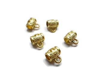 5 Pieces Mini Barrel Bail Charm Holder Slider - 24K Matte Gold Plated - BFG014