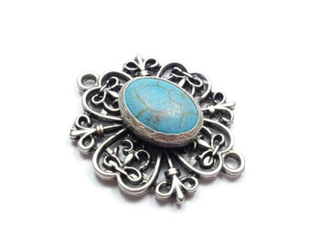 Sophisticated Turquoise  Connector Pendant- 40mm  Matte Silver Plated Bezel Pendant, Filigree Frame- GS016