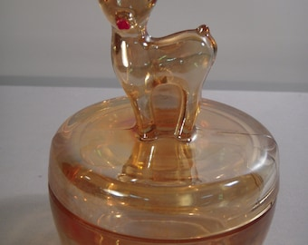 1950s Iridescent Marigold Fawn Powder Jar with Lid, Vintage Jeannette Glass Company Carnival Glass