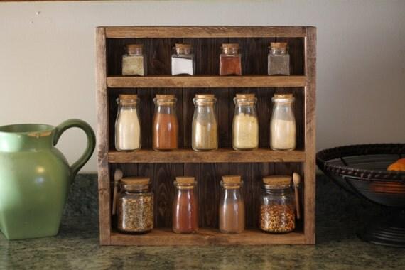Tag re pices en bois rustique tag re pices en bois - Etagere pour epices en bois ...