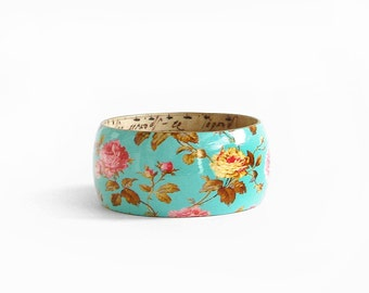 Large Size Wood Bracelet Hand Paint Decoupage Roses Wood Bangle Turquoise Floral Boho Bracelet Wood jewelry