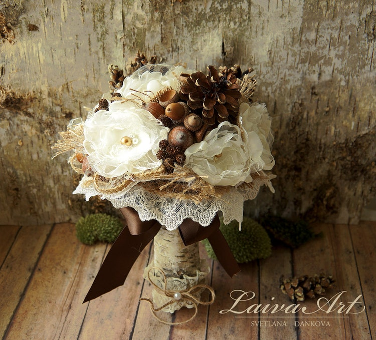 rustic wedding flower bouquets rustic wedding flowers bouquet pine cones wedding by laivaart 7216
