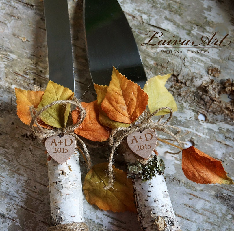 Personalized Rustic Fall Wedding Cake Server Set Knife By