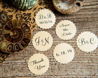 25 Cream Save the Date, thank you Printed Envelope seals, wedding sticker invitation. Matt Pearlised shimmer Scalloped Round Favour sticker