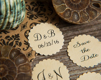 100+ Champagne Cream Save the Date Envelope seals, wedding stickers invitations. Printed Scalloped Round wedding Favour stickers. Matt