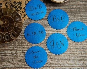 100+ Royal Regal Blue Save the Date Envelope seals, wedding stickers invitations. Printed Scalloped Round wedding Favour stickers. Matt