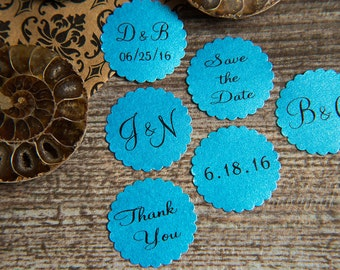 25 Aqua Blue Save the Date, Printed Envelope seals, wedding sticker invitation. Matt Pearlised shimmer Scalloped Round Favour sticker
