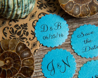 100+ Aqua Blue Save the Date Envelope seals, wedding stickers invitations. Printed Scalloped Round wedding Favour stickers. Matt Pearlised.