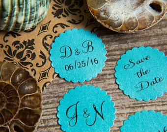 100+ Turquoise Save the Date Envelope seals, wedding stickers invitations. Printed Scalloped Round wedding Favour stickers. Matt Pearlised.