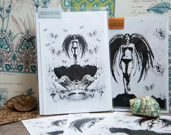 3 Unique Postcard sets. Fantasy Fallen Angel Artwork with Lotus flower. Numbered Art 1/100. Butterfly postcard. Digital Illustrated Goth Art