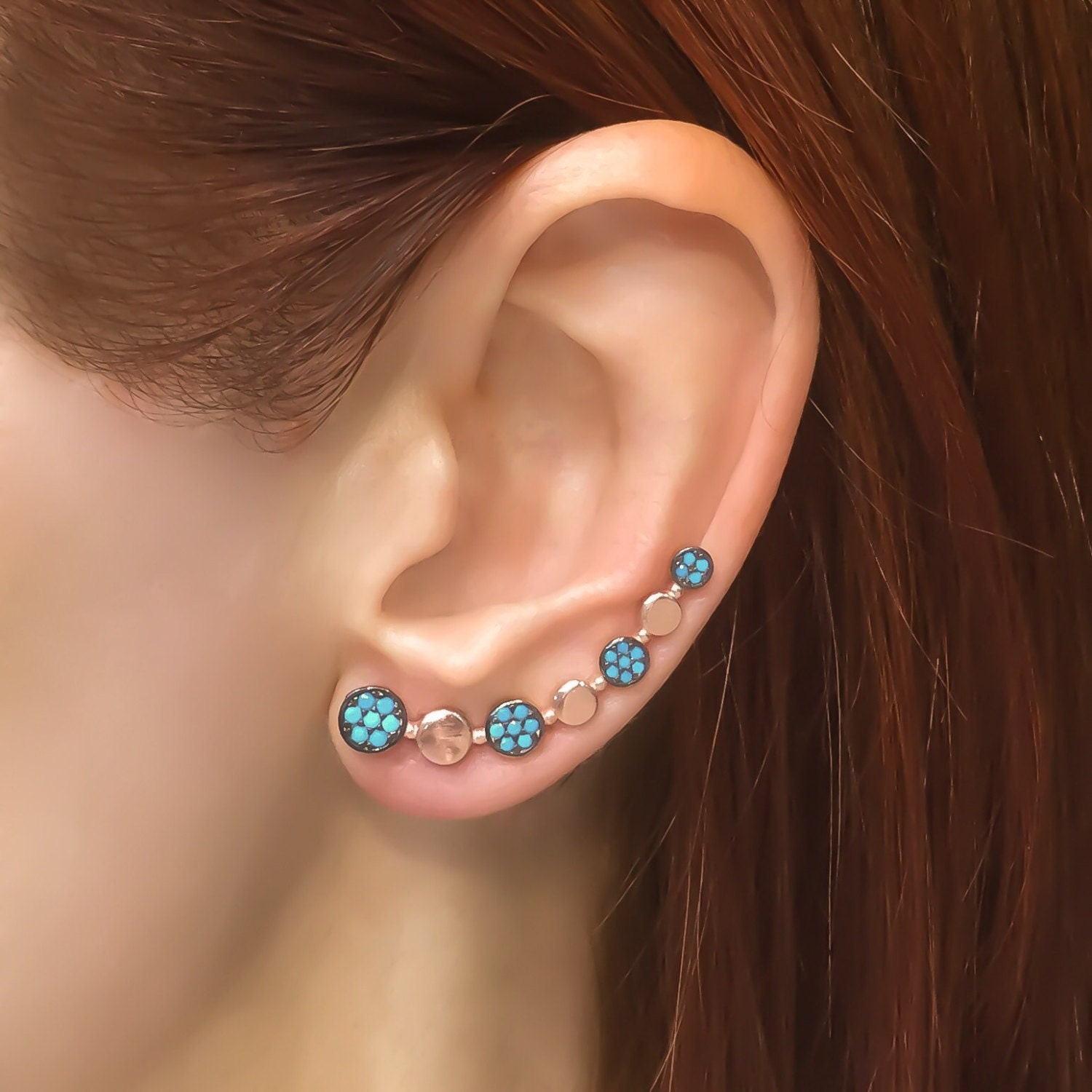 turquoise ear cuff sterling silver ear climber by trendsilver. Black Bedroom Furniture Sets. Home Design Ideas