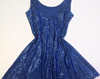 80s Vintage Blue Sequin Mini Dress | Vintage Eighties Sequin Skater Dress