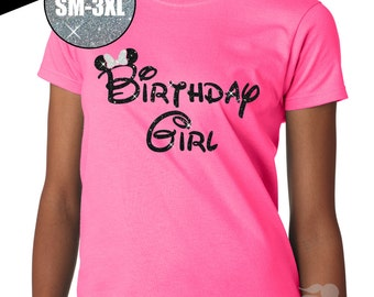 GLITTER Birthday Girl Minnie Mouse Regular Ladies Crew Neck Tee (50-00-00L Hot Safety Pink Tee Shirt) - White Glitter / Black Glitter