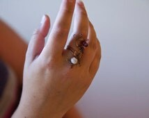 Rasberries and Cream Adjustable statement ring/wire woven ring/copper and crystal ring/boho ring/ooak jewelry