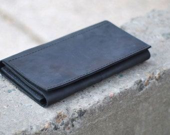 Big wallet, handmade genuine leather wallet for men, black wallet, W010