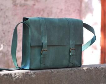 Shoulder bag, womens satchel, leather satchel, shoulder bag, mens bag, B015 Green