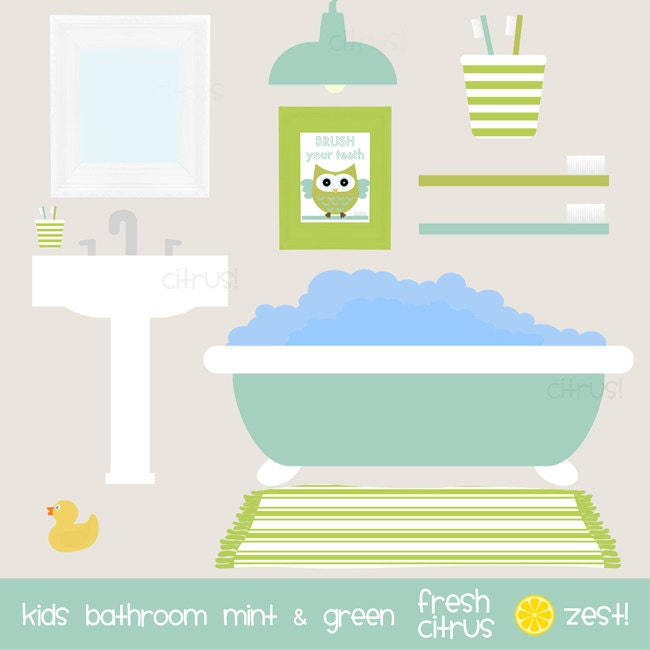Bathroom Art Minted: Kids Bathroom Clip Art Mint And Green