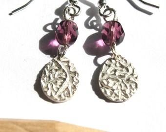 Purple dangle earrings, purple drop earrings, purple earrings, purple glass earrings
