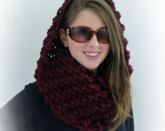 Hand-knitted Chunky Twisted Infinity Cowl Scarf in Bordeaux Red