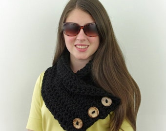 Crochet Chunky Boston Harbor Scarf with Buttons in Black