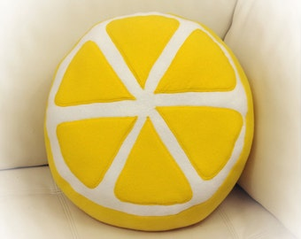 Lemon Pillow, Lemon Slice Pillow, Food Pillow, Fruit Pillow, Toy Pillow, 3D Pillow,  Beach House Decor