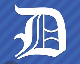 Old English Letter D Initial Vinyl Decal Sticker Diploma Font