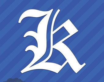 Old English Letter K Initial Vinyl Decal Sticker Diploma Font