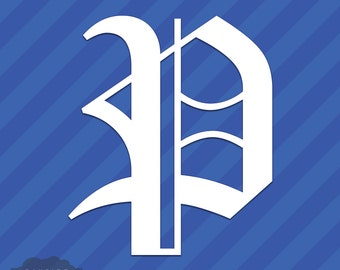 Old English Letter P Initial Vinyl Decal Sticker Diploma Font