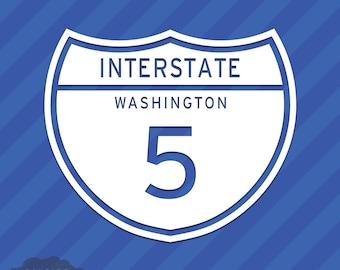 Interstate 5 Washington Vinyl Decal Sticker Freeway Highway